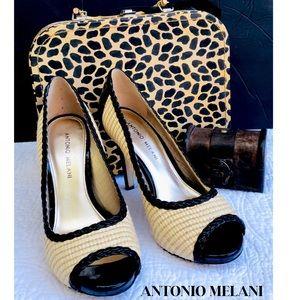 Antonio Melani Two Tone High Heels Peep Toe Sz 7.5